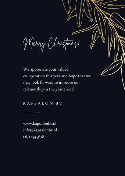 Donkerblauwe fotokaart met gouden tak merry christmas 3