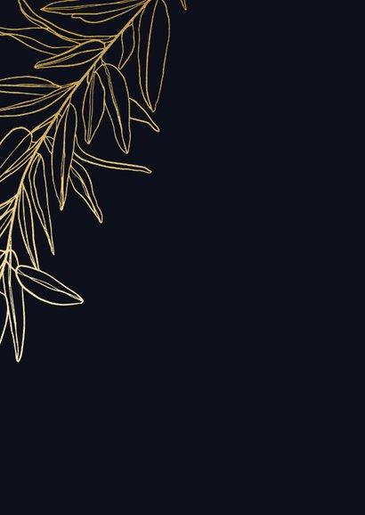 Donkerblauwe stijlvolle nieuwjaarskaart met gouden tak Achterkant