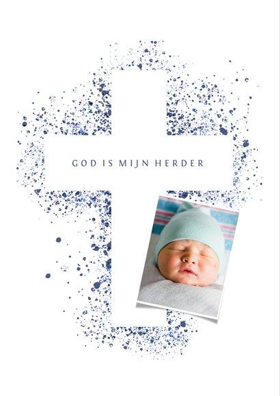 Doopfeest uitnodiging foto blauw kruis verfspetters 2