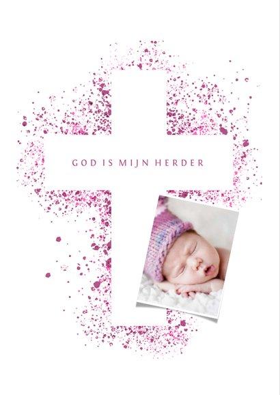 Doopfeest uitnodiging foto roze kruis verfspetters 2