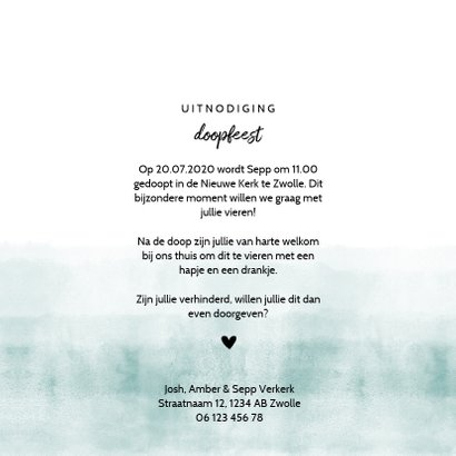 Doopfeest uitnodiging foto stoer blauwgroene waterverf 3