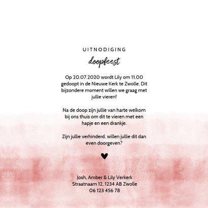 Doopfeest uitnodiging foto stoer roze waterverf 3