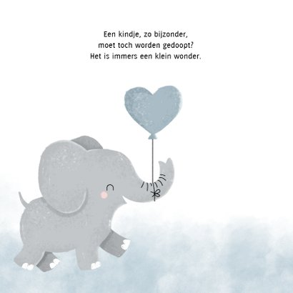 Doopfeest uitnodiging met olifantje en blauwe ballon 2