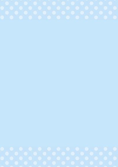 Doopkaart blauwe stippen 2