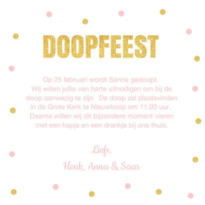 Doopkaart fotocollage confetti goud roze meisje 3