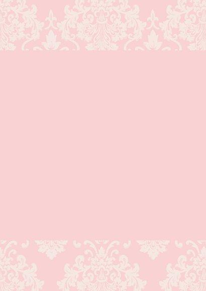 Doopkaart meisje roze barok 3