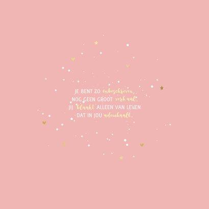 Doopkaart simpel met goudlook sterretjes en hartjes 2