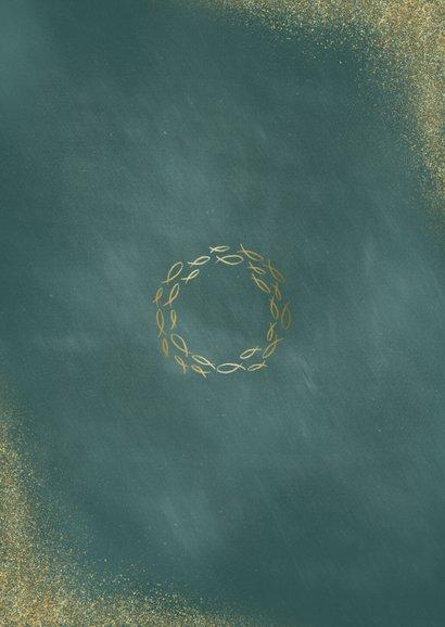 Doopkaart uitnodiging foto en gouden visjes Achterkant
