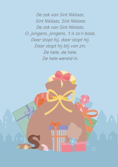Een cadeaukaart met een tekening van de zak van sinterklaas. 2