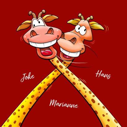 Een verdraaid leuke felicitatiekaart met giraffen 3