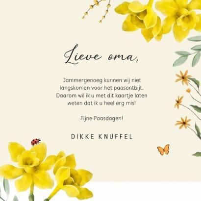 Een vrolijke lente paaskaart met bloemen, vlinders en konijn 3