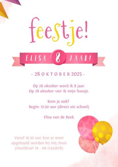 Eenhoorn kinderfeestje verjaardag uitnodiging met slingers  3