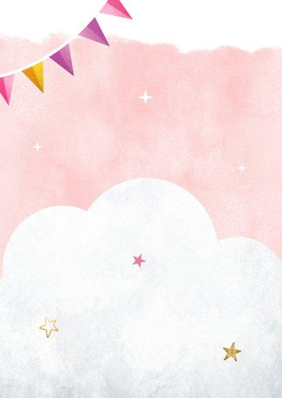 Eenhoorn kinderfeestje verjaardag uitnodiging met slingers  Achterkant