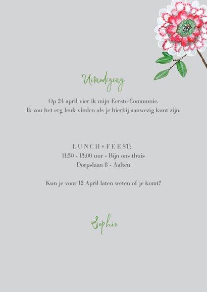 Eerste Communie uitnodiging botanisch bloemen 3