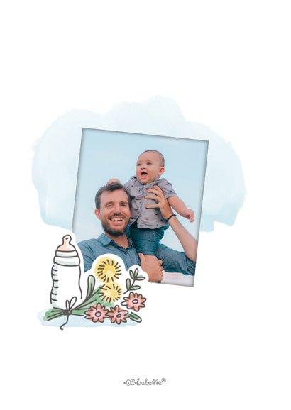 Eerste vaderdagkaart met babyfles en bloemen 2