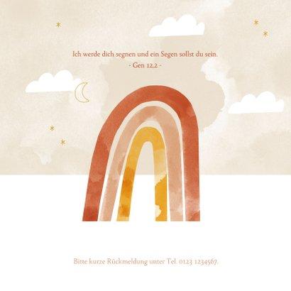 Einadungskarte zur Taufe orangener Regenbogen & Wolken 2