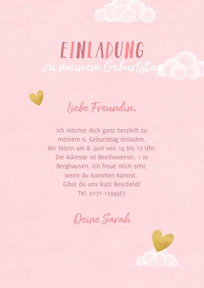 Einhorn-Einladung zum Kindergeburtstag Foto innen 3