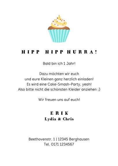 Einladung 1. Geburtstag Fotos & Cupcake blau 3