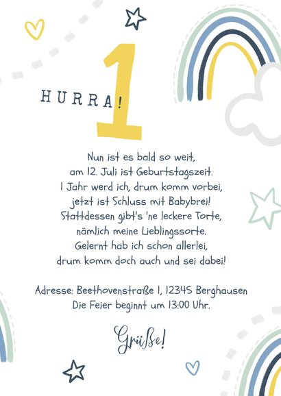 Einladung 1. Geburtstag Junge eigenes Foto & Regenbogen  3