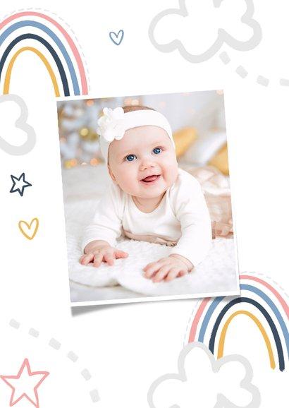 Einladung 1. Geburtstag Mädchen eigenes Foto & Regenbogen 2