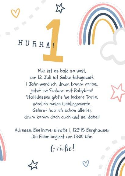 Einladung 1. Geburtstag Mädchen eigenes Foto & Regenbogen 3