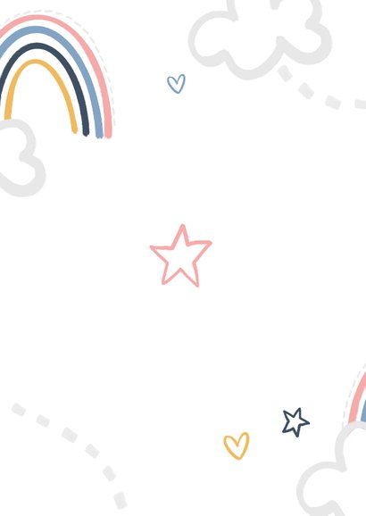 Einladung 1. Geburtstag Mädchen eigenes Foto & Regenbogen Rückseite