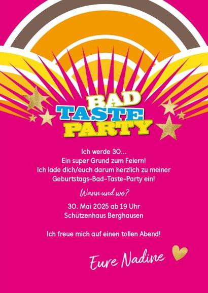 Einladung Bad Taste Party mit Foto 3