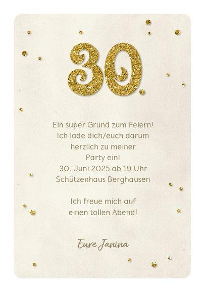 Einladung Geburtstag Glittergold 30 3