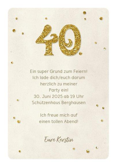 Einladung Geburtstag Glittergold 40 3