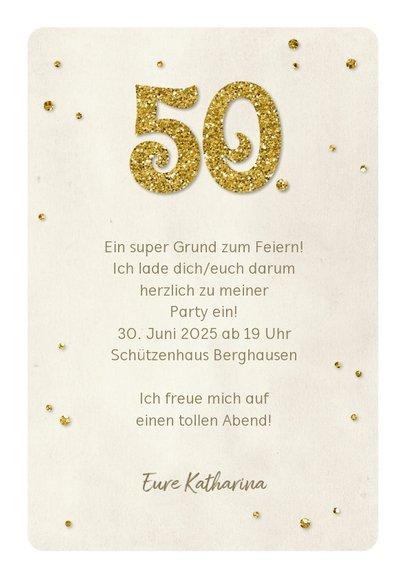 Einladung Geburtstag Glittergold 50 3
