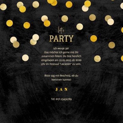 Einladung Geburtstag mit Foto und Goldkonfetti 3