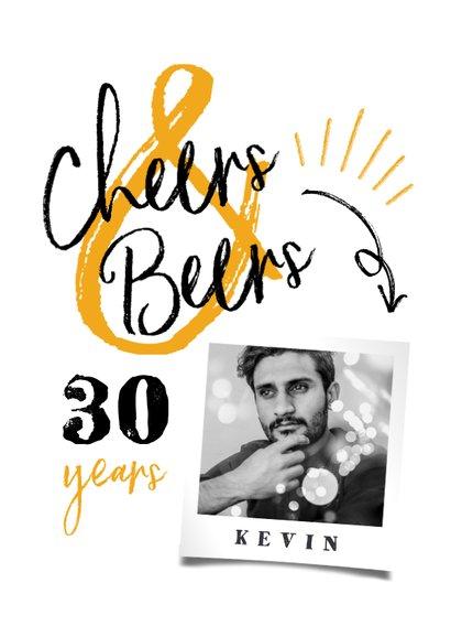 Einladung Geburtstag weiß mit Foto 'Cheers & Beers' 2