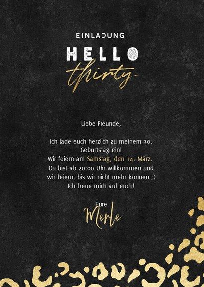 Einladung 'hello thirty' mit Foto und Animalprint 3