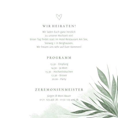 Einladung Hochzeit zierliche Blätter 3