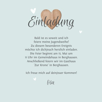 Einladung Jugendweihe Foto & Herzen 3