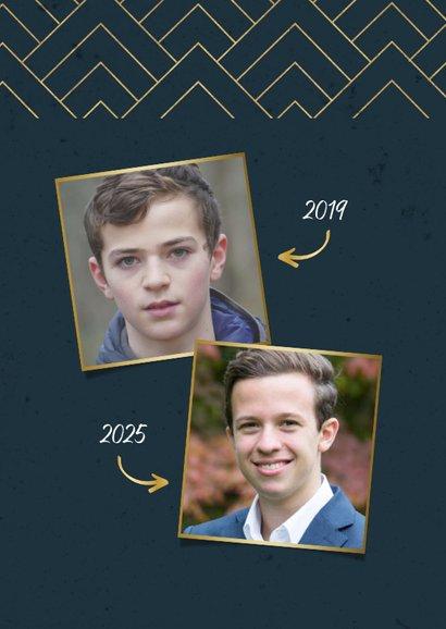 Einladung Jugendweihe Fotos grafisch blau 2