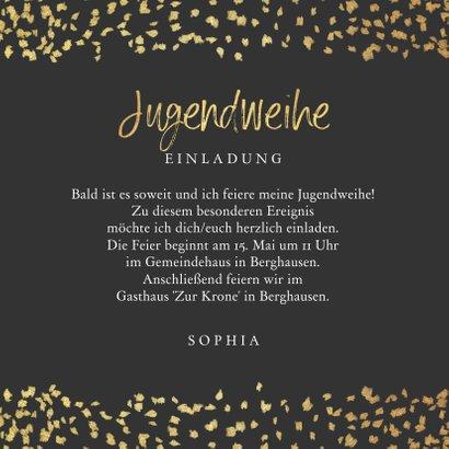 Einladung Jugendweihe Goldkonfetti Foto 3
