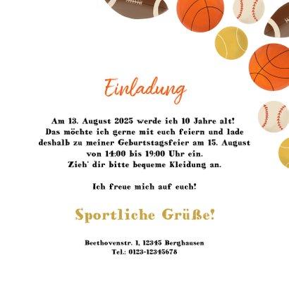 Einladung Kindergeburtstag Ballsport Foto innen 3