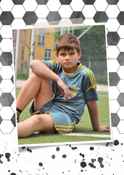 Einladung Kindergeburtstag blau Fußballhintergrund mit Foto 2