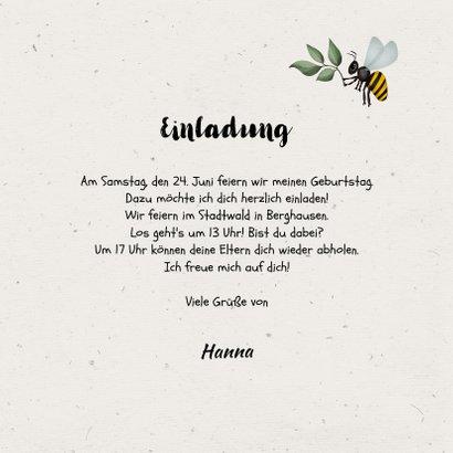Einladung Kindergeburtstag braun Outdoor Insekten 3