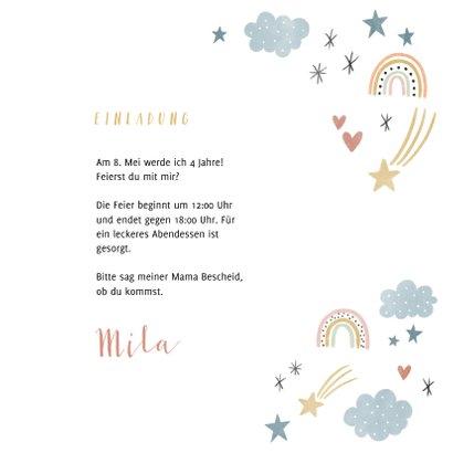 Einladung Kindergeburtstag eigenes Foto, Regenbogen & Sterne 3