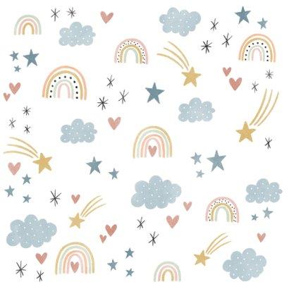 Einladung Kindergeburtstag eigenes Foto, Regenbogen & Sterne Rückseite