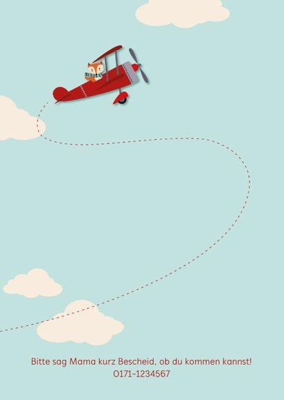 Einladung Kindergeburtstag Fuchs in Flugzeug 2