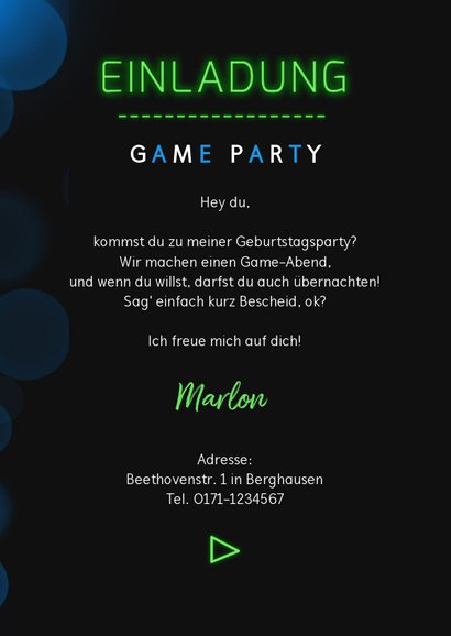 Einladung Kindergeburtstag Game on  3