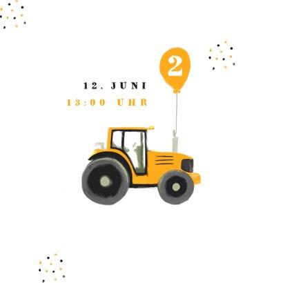 Einladung Kindergeburtstag gelbe Traktoren 2