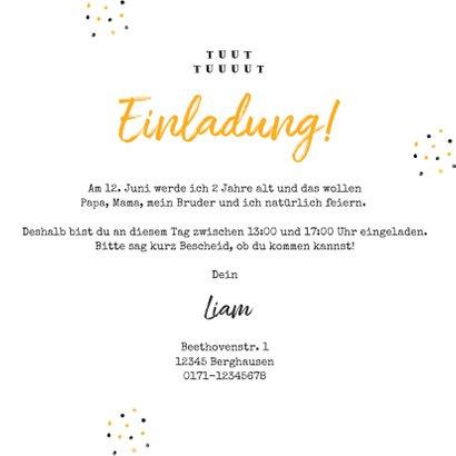 Einladung Kindergeburtstag gelbe Traktoren 3
