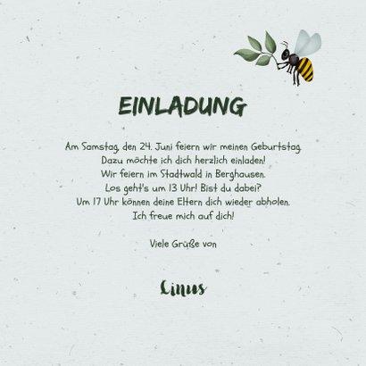 Einladung Kindergeburtstag grün Outdoor Insekten 3