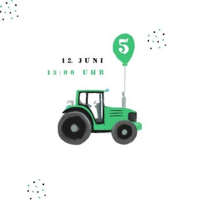 Einladung Kindergeburtstag grüne Traktoren 2