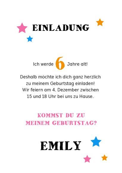 Einladung Kindergeburtstag Kreidelook Foto pink 3