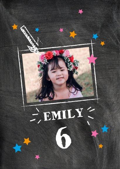 Einladung Kindergeburtstag Kreidetafel mit Foto pink 2
